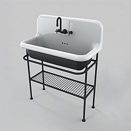 Vintage style ceramic washbasin with structure and metal grid Taylor