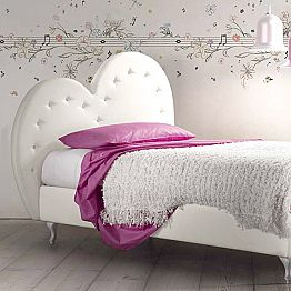Modern Single Bed Covered in Eco - Leather - Siviglia