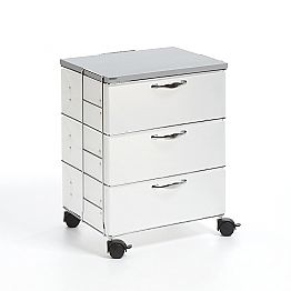 Modern design chest of 3 drawers Adam, white or grey polypropylene