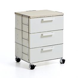 Modern design chest of 3 drawers Irma, with natural wood top