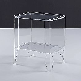 Modern bedside table Marc, made of clear methacrylate, 8 mm thick