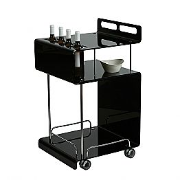 Modern design bar cart Paco, made of methacrylate, 8 mm thick