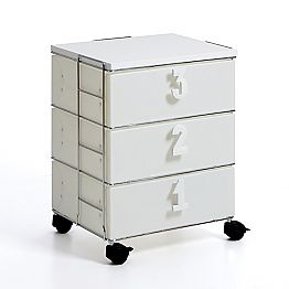 Chest of drawers Yodi with three drawers and wheels, modern design