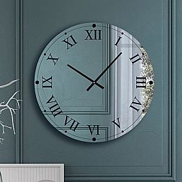 Round Wall Clock in Mirrored Crystal Made in Italy - Ingranaggio
