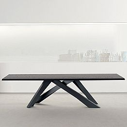 Bonaldo Big Table table with anthracite grey wooden top, made in Italy