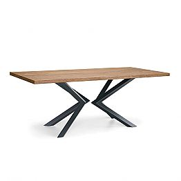 Modern Dining Room Table in Knotted Oak and Metal Made in Italy - Veruka