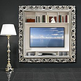 TV wall frame handmade of wood, produced 100 % in Italy, Mario