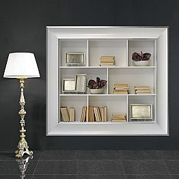 Tommaso wall bookcase with wooden compartments, handmade in Italy