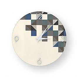 Modern design wall clock made of wood, produced in Italy Peia