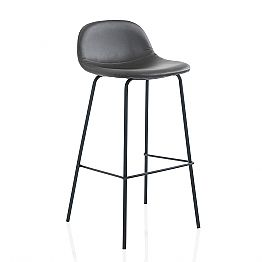 Modern Stool in Imitation Leather or Fabric with Metal Legs, 2 Pieces - Billo