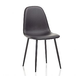 Modern Dining Room Chair in Leatherette and Black Metal, 4 Pieces - Pocolo