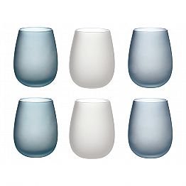 Water Glasses in Colored Frosted Glass Complete Service 12 Pieces - Autumn