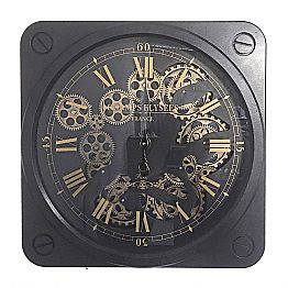 Vintage Design Wall Clock in Steel Square Shape Homemotion - Curzio