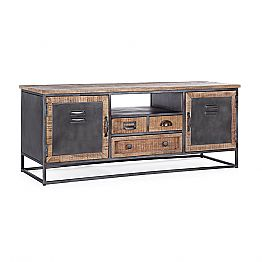Industrial Style TV Stand in Mango Wood and Steel Homemotion - Rupia
