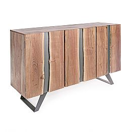 Modern Sideboard in Acacia Wood with Metal Inserts Homemotion - Sonia