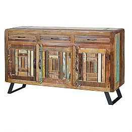 Vintage Design Sideboard in Colored Recycled Wood - Vladimiro