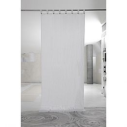 White Heavy Linen Curtain with Luxury Italian Quality Buttons - Gorgia