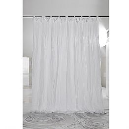 White Ribbed Linen and Organza Curtain, Luxury Italian Design - Karnak
