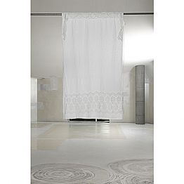 White Light Linen Curtain with Organza and Elegant Design Embroidery - Malavasia
