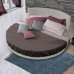 Round Design Double Bed Covered in Fabric, Made in Italy - Rello