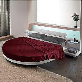 Round Double Bed Covered in Ecoleather, Made in Italy Design - Vesio