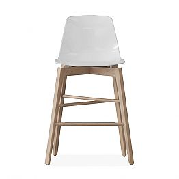 Stool in Oak Wood and White Lacquered Seat of Modern Design - Langoustine