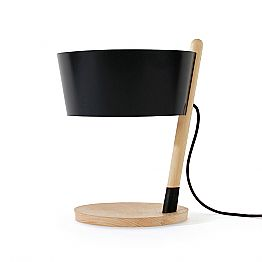 Table Lamp in Beech with Details in Metal and Vegan Leather - Avetta