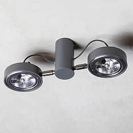Aluminum Lamp with 2 Adjustable Lights Handmade Made in Italy - Gemina