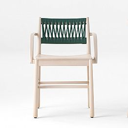 Luxury Chair with Armrests in Bleached Beech and Rope Made in Italy - Nora