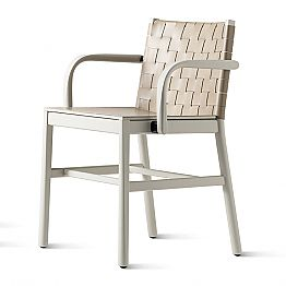 Luxury Chair in Beige Lacquered Beech and Braided Leather Made in Italy - Nora