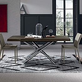 Design Dining Table with Oak Wood Top Made in Italy - Adalberto