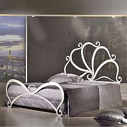 Iron double bed with crystal decorations Eden, made in Italy