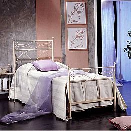 Wrought iron single bed Ambra, handmade in Italy, classic design