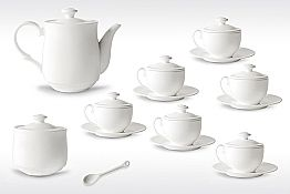 White Porcelain Tea Cup Set 21 Pieces with Lid - Samantha