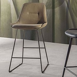 Modern Design Stool with Painted Metal Sled - Ines
