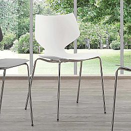 Modern design chair with chromed base, made in Italy, Messina