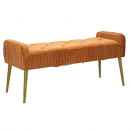 Rust Modern Rectangular Bench in Fabric and Wood - Zack