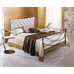 Wrought-iron small double bed Idra Capitonné