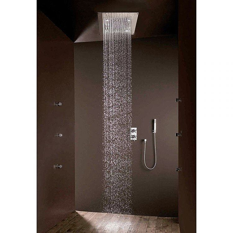 Bossini Square shower head Dream by   with LED lights, modern design